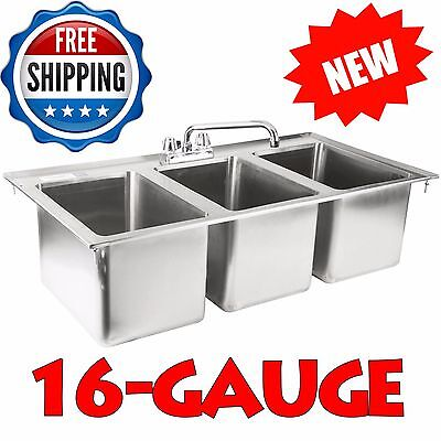 "10"" x 14"" x 10"" Stainless Steel Three Compartment Drop-In Sink with 10"" Faucet"