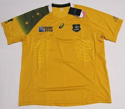 Bnwt Australia Wallabies Men's 2015 Rugby World Cup Asics Jersey 2Xl Xxl