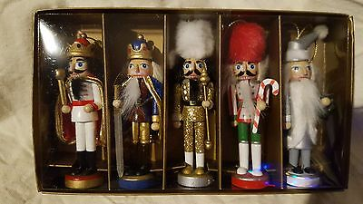 """2016 Collection Pier 1 Wooden Nutcracker Ornaments 4.5"""" Tall Set of 5"""