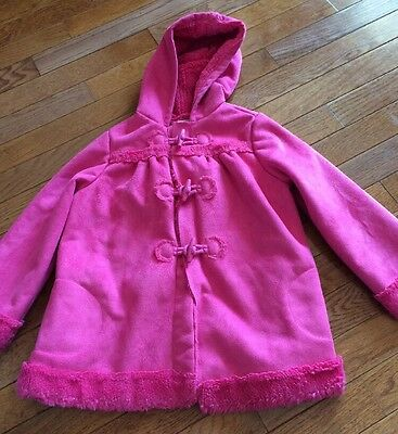 Crazy 8 Girls Size 4 5 Pink Faux Fur Hooded Toggle Coat Winter Jacket