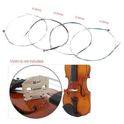 ammoon Full Set High Quality Size 1/2 & 1/4 Violin Strings G D A and E New H5Y6