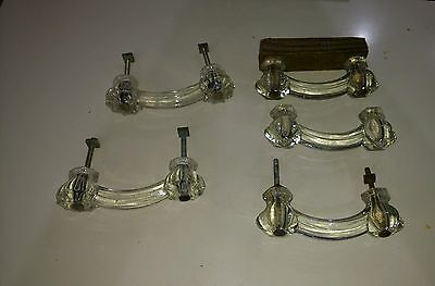 5 Old Antique Clear Glass Furniture Drawer Pulls