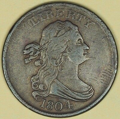 1804 Spiked Chin Variety Draped Bust Half Cent Copper 1/2C