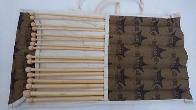 Wooden / Bamboo Knitting Needle Set  - 7 Pairs from 3.5mm to 9mm 35cm long
