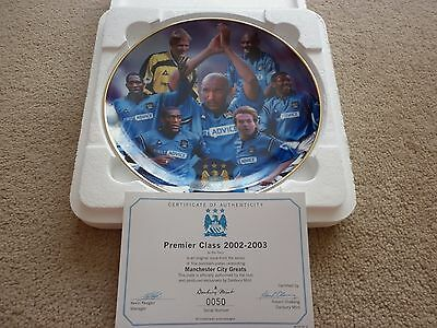 "Manchester City Collectors Plate, ""premier Class 2002-2003"" , Danbury Mint. Vgc."