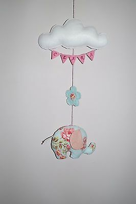 NEW Personalised cloud elephant baby girl nursery wall decor, baby shower gift