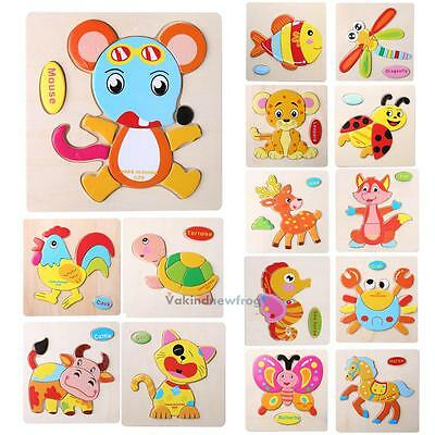 Wooden Animal Puzzle Jigsaw Blocks Children Kids Baby Learing Educational Toy VF