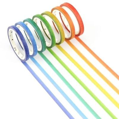 Washi Tape - Rainbow Ombre Skinny Slim Bright - Set of 7 tapes each 5mm x 7m