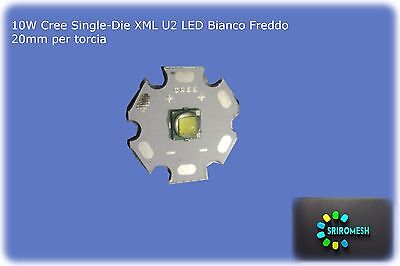 10W Cree Single-Die XML U2 LED Bianco 20mm Star Base, 1100Lm 3000mA for DIY