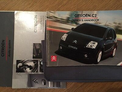Citroen C2 Car Owner Handbook Manual & Servicebook Audiobook Case Wallet Genuine