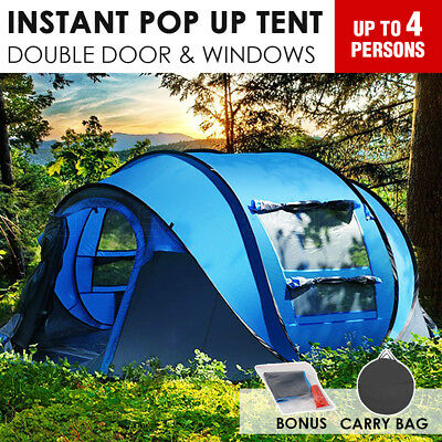 4 Person Pop-Up Tent Instant Set-Up Waterproof Large Camping Tent Shelter D-Door