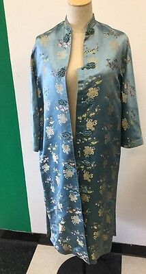 Vintage(1960'S ?) DYNASTY HONG KONG  Ice Blue Silk Robe VGC Size SMALL
