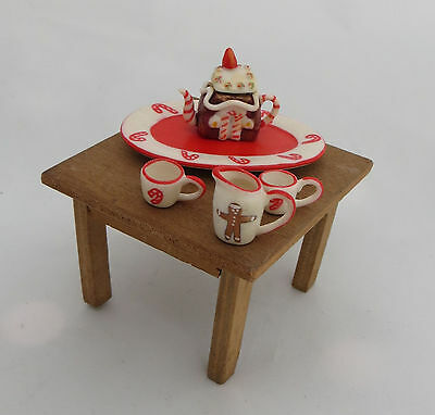 Dolls House Accessories - Christmas Holidays Tea Set With Table Teapot Plate Etc