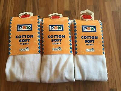 Pex White Cotton Soft Tights - Age 11-13.  3 PAIRS. BNWT 152cm High