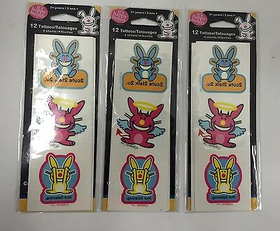 It's Happy Bunny Tattoos 12ct Lot of 3 (NEW)