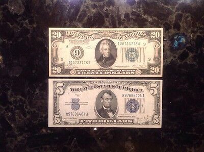 1928  $20 Federal Reserve Note - Numerical 9  + 1934 D $5 Silver Certificate