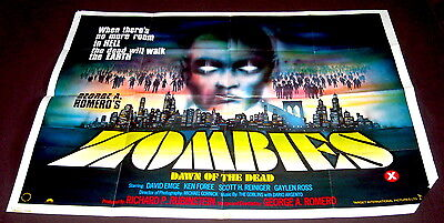 Zombies Dawn Of The Dead - Original Uk Cinema Poster 40'' X 30'' - Damaged