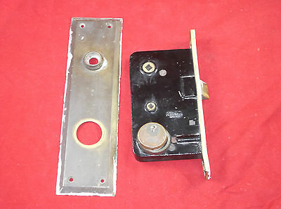 Vintage Antique Sager Door Lock Hardware & Plate