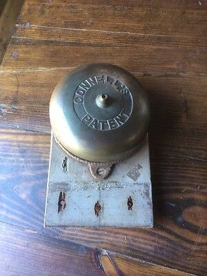 Antique Fancy Connell's Mechanical Doorbell Brass 1880s 1890s Rare Complete Orig