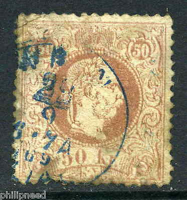 AUSTRIA 1874-84 50k Brown-Rose Fine Print Used Blue Wein postmark [N104