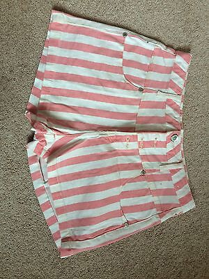 Pink Striped High Waisted Shorts Size 12