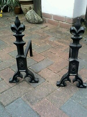 Pair Cast Iron Antique Andirons Gothic Fire Dogs