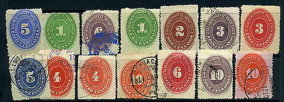 Mexico 1880s-90s Official x14 Mint & Used, some with watermark [N176