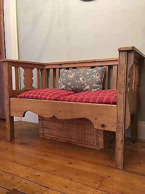 Antique pine bench with Laura Ashley seat cushions