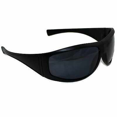 Unisex Uv400 Black Sunglasses Wrap Around Sport Skiing Biker Driving Modern