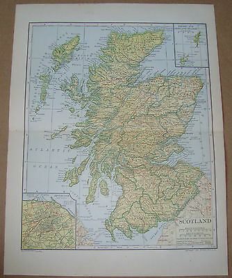 Scotland Map; Authentic 1907 Counties, Cities, Towns, Topography, RRs (inv266)