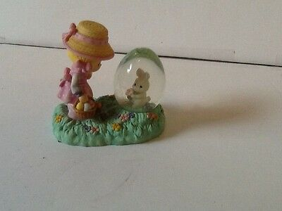1997 Precious Moments Easter Snow Globe W/Girl & Bunny, Enesco