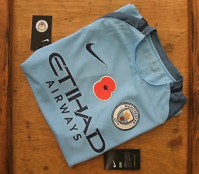 Brand New Official Manchester City 2016/17 Home POPPY Shirt Adults S & XL