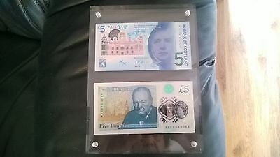 AA01 LOW England £5 and AA SCOTLAND £5 first prefix POLYMER BANKNOTES - 2016