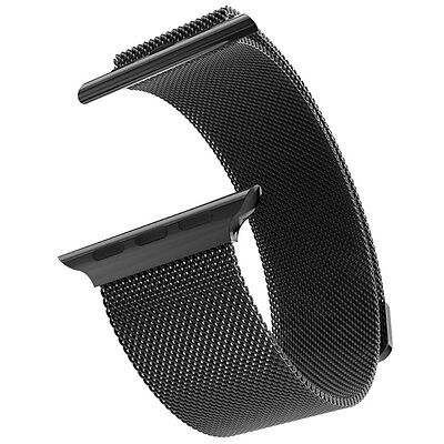 Black Milanese Loop Strap Stainless Steel Band for Apple Watch series 2 42mm S1
