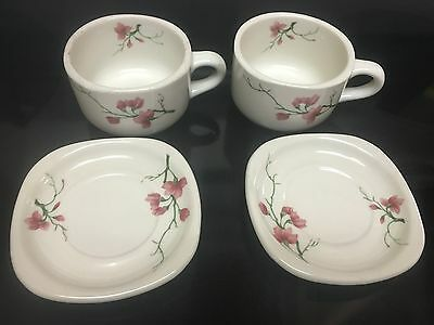 4 Pcs Trend Syracuse China Cups & Saucers Railroad China Excellent Azalea