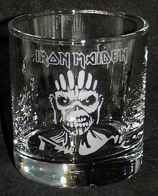 "New Etched ""Iron Maiden"" Clear Whiskey Glass(es) - Choose 1 or 2 - (R6)"