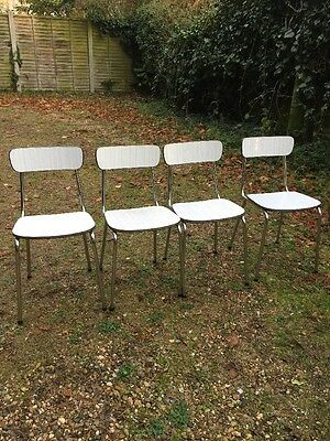 Vintage 50's Or 60's Chrome Formica Set Of 4 Chairs