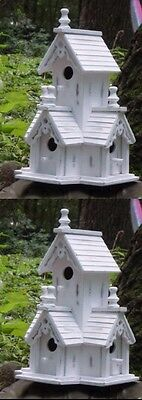 Set Of 2 Large 2 Level Vintage Birdhouses W/carved Gingerbread Trim And 4 Holes