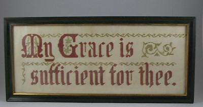 Antique Victorian Punch Paper Religious Motto Embroidery Needlework Sampler 20""