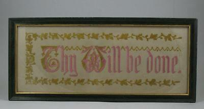 "Antique Victorian Punch Paper Religious Motto Embroidery Needlework Sampler 20""a"