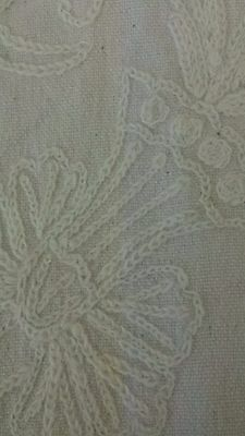 Kravet Crewel Wool Embroidered Fabric, Washed Linen, 12 Yards