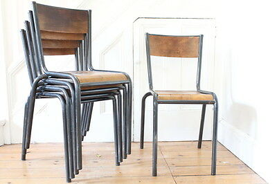job lot of 5 vintage Mullca French industrial chairs for repair/spares
