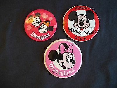 LARGE METAL PINBACK MEMBER MICKEY Minnie  MOUSE CLUB Lot of 3