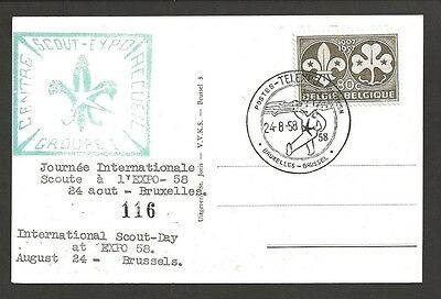 1958 Boy Scouts Belgium Int'l Scout Day at Expo Brussels BadenPowell postcard