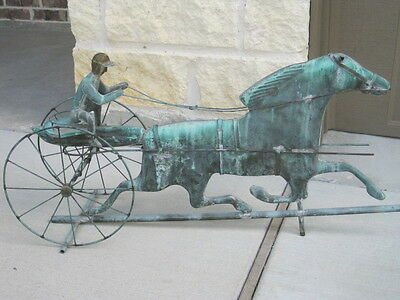 Vintage Copper Weather Vane Sulky Horse and Rider Copper Patina Antique