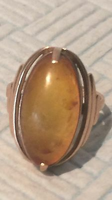 Antique Victorian Russian Solid 14ct Rose Gold Scotch Amber Ring Mark 583 Star