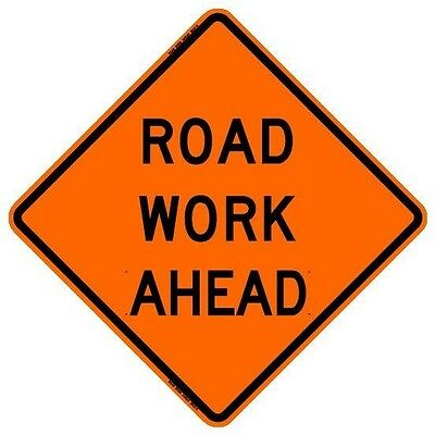 """BONE SAFETY ROAD WORK AHEAD (48"""") Roll-Up Sign with Ribs..HIGH INTENSITY REFLECT"""