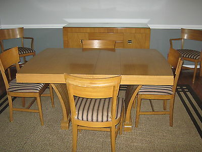 1950s Vintage Blond African Mahogany 9-Piece Dining Room Set