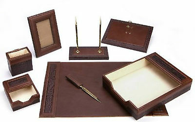 Executive Office Table Vintage Leather Work Desk Set Organizer Stand Tray Holder