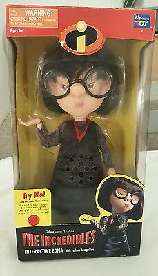 "The Incredibles Interactive Edna Talking Figure/doll 14"" New"